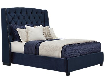 Raven Dark Blue Upholstered Platform Bed