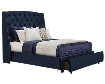 Raven Dark Blue Upholstered Platform Storage Bed