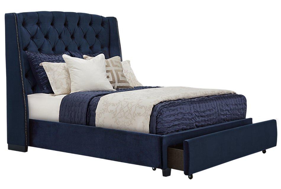 Raven Dark Blue  Uph Platform Storage Bed