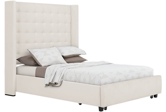 Marco White Microfiber Platform Storage Bed