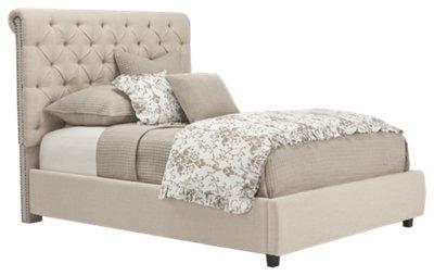 durham beige upholstered platform bed