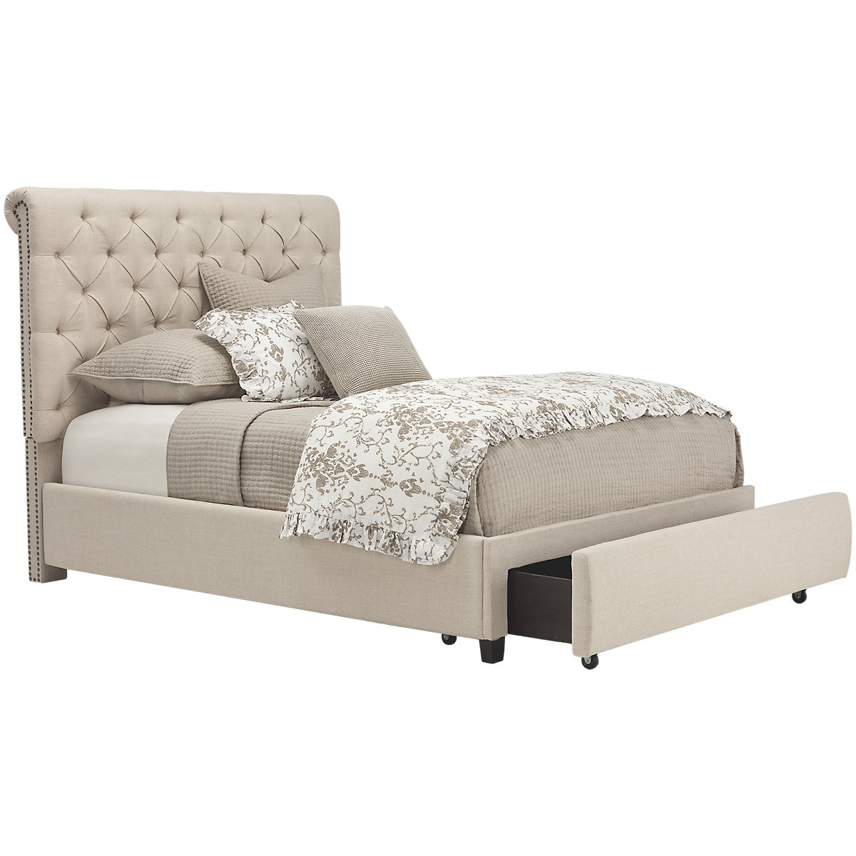 City Furniture Durham Beige Upholstered Platform Storage Bed