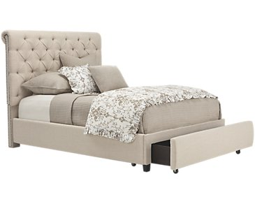 Durham Beige Upholstered Platform Storage Bed