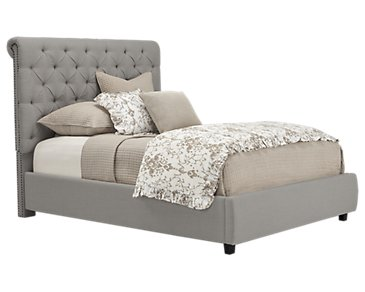 Durham Gray Upholstered Platform Bed