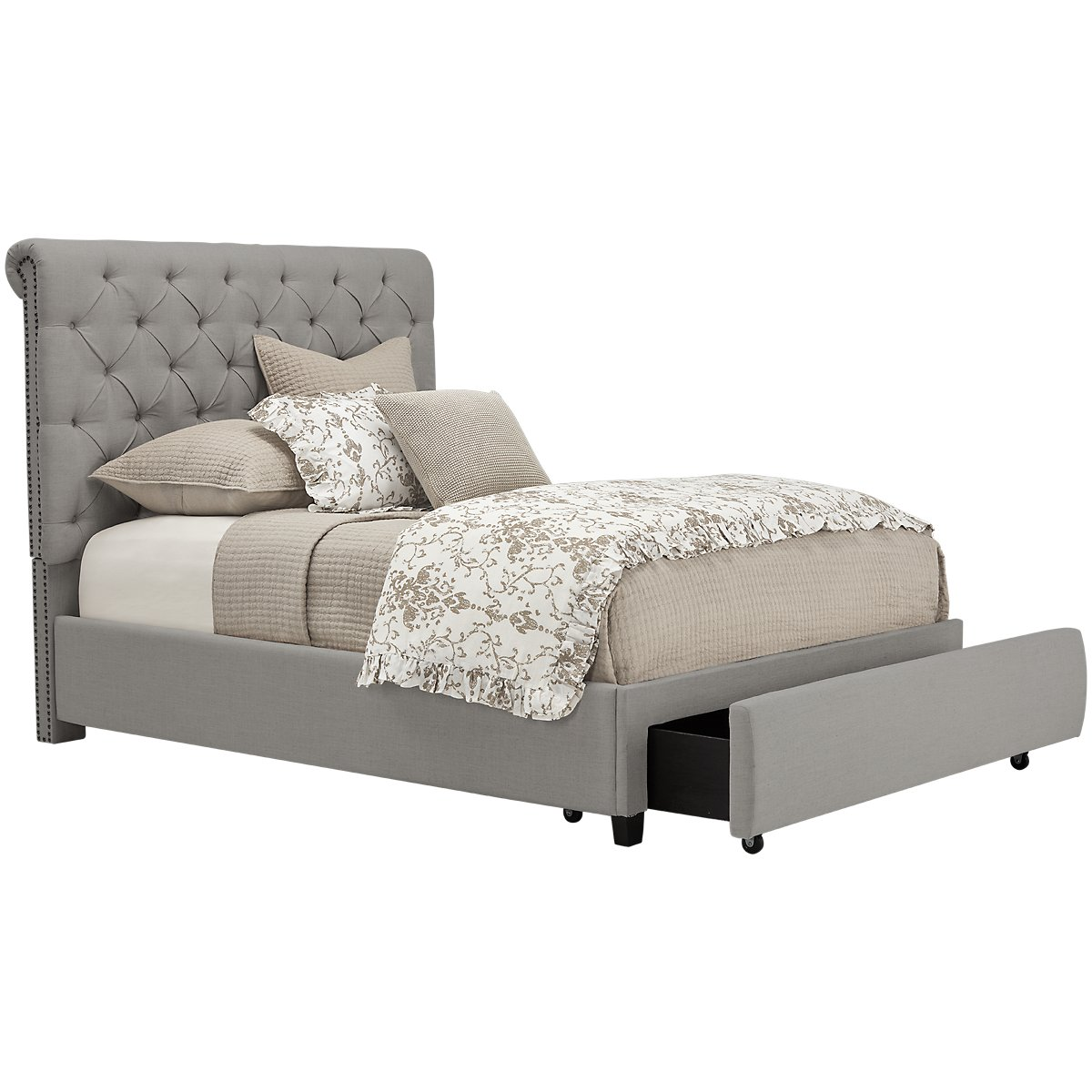 Durham Gray Upholstered Platform Storage Bed