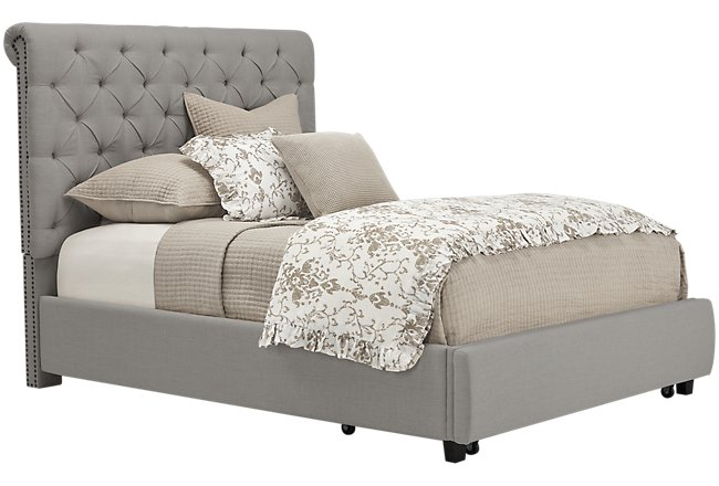 Durham Gray Fabric Platform Storage Bed