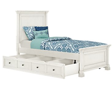 Stoney White Panel Storage Bed
