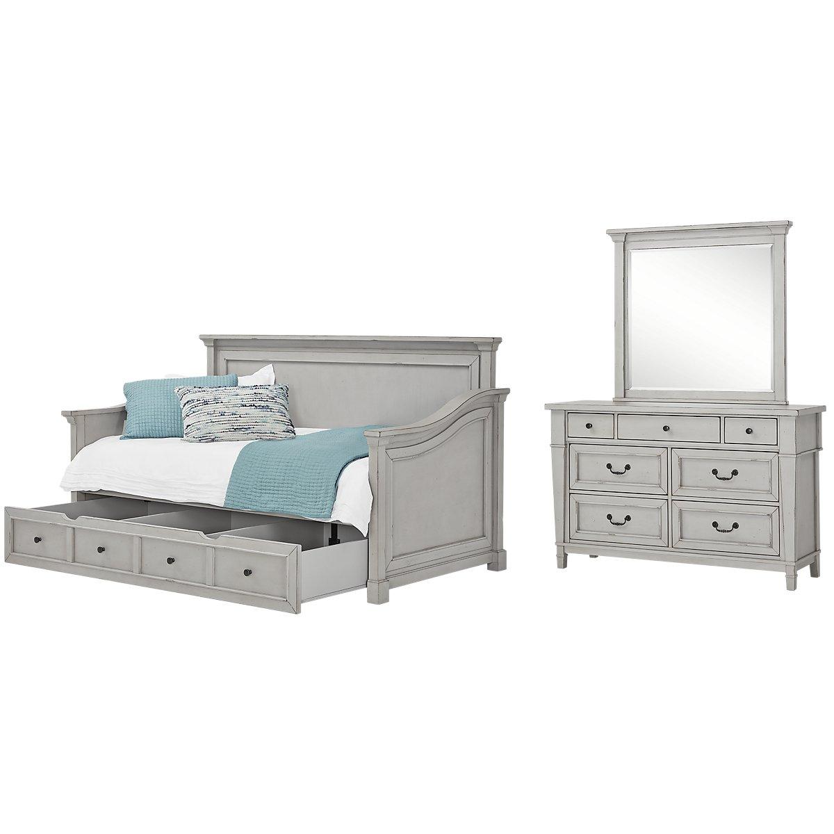 Stoney Gray Daybed Storage Bedroom