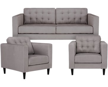 Shae Light Gray Microfiber Living Room