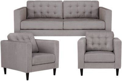 Shae Light Gray Microfiber Living Room
