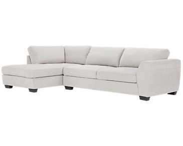 Perry Light Gray Microfiber Left Chaise Sectional