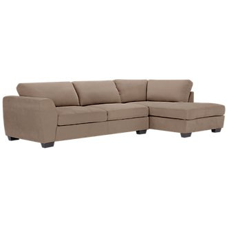 Perry Dark Taupe Microfiber Right Chaise Sectional