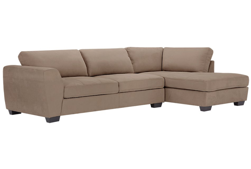 Perry Dark Taupe Micro Right Chaise Sectional