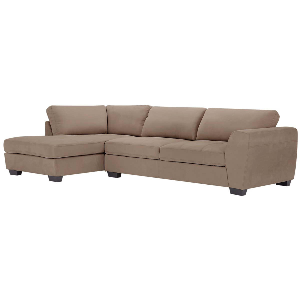city furniture perry dark taupe microfiber left chaise. Black Bedroom Furniture Sets. Home Design Ideas