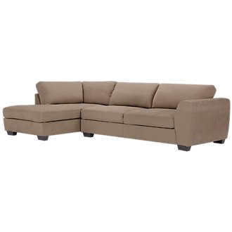 Perry Dark Taupe Microfiber Left Chaise Sectional