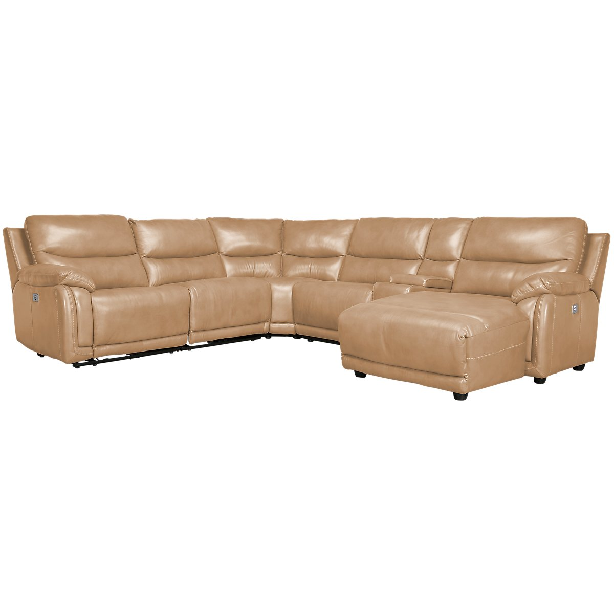 City furniture vince taupe leather right chaise power - Leather reclining sectional with chaise ...