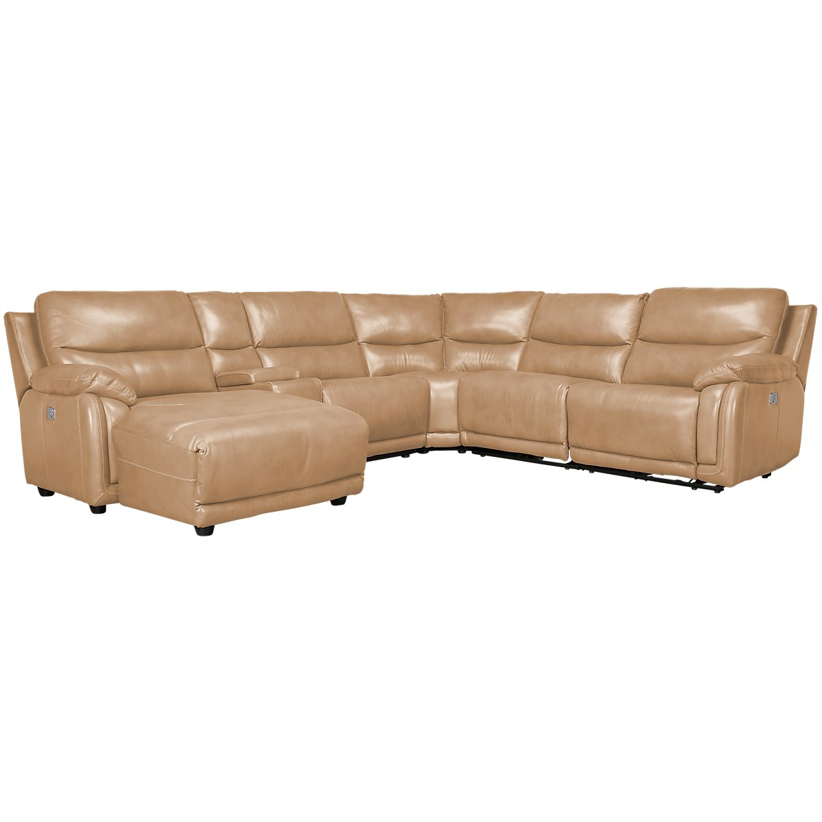 City furniture vince taupe leather left chaise power - Leather reclining sectional with chaise ...