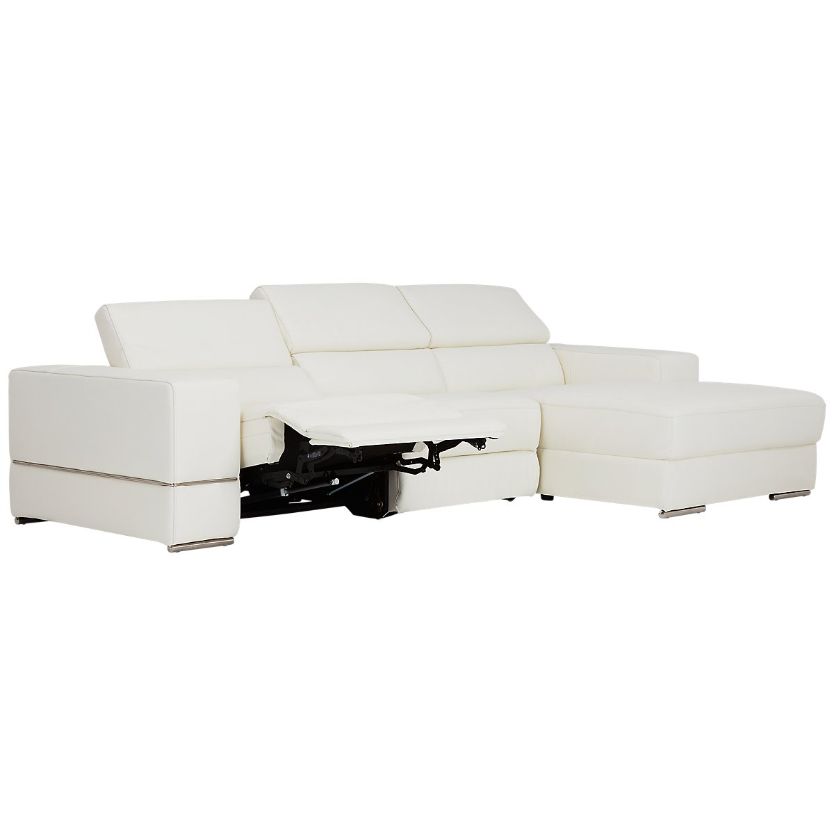 Dante White Leather Right Chaise Power Reclining Sectional