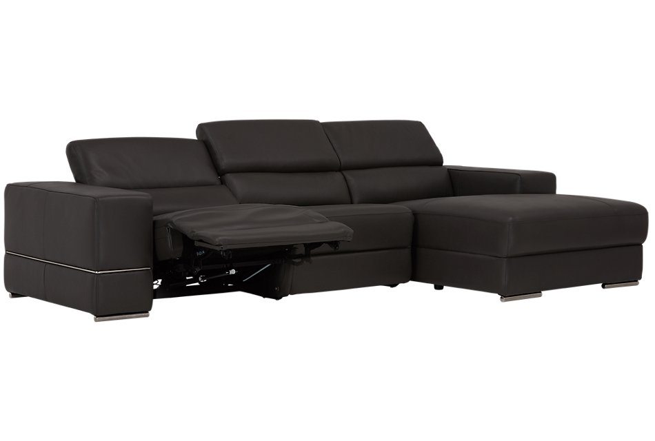 Dante GRAY LEATHER Right Chaise Power Reclining Sectional