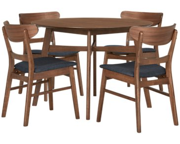 Simplicity Mid Tone Round Table & 4 Chairs