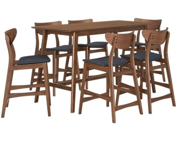 Simplicity Mid Tone Rectangular High Table & 4 Barstools