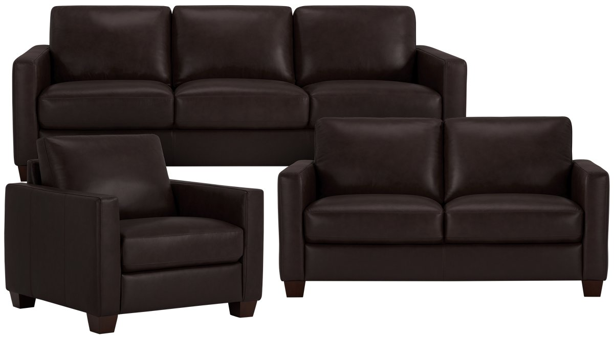 City Furniture Wesley Dark Brown Leather Sofa ~ Brown Leather Sofa Chair