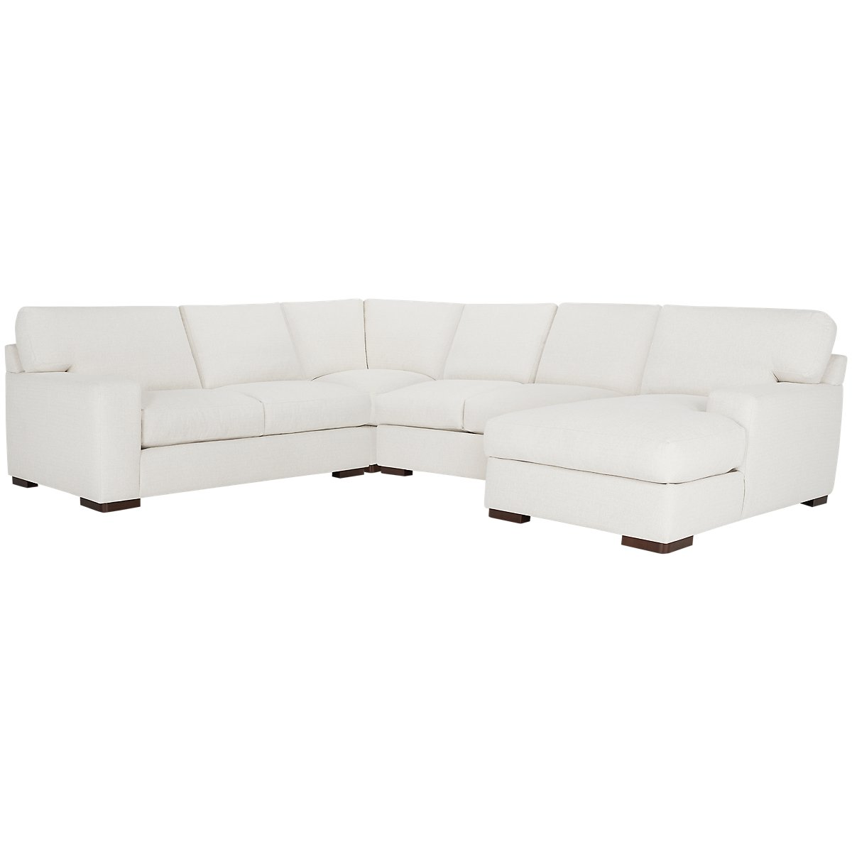 Veronica White Fabric Medium Right Chaise Sectional