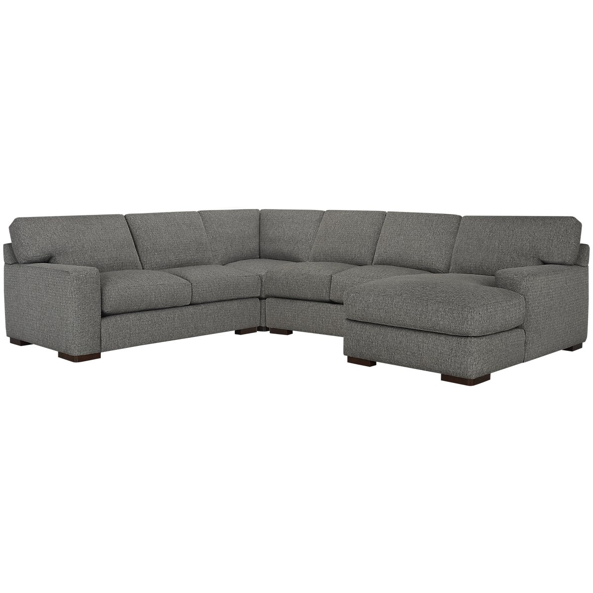 Veronica Gray Fabric Medium Right Chaise Sectional