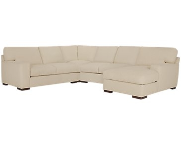 Veronica Khaki Down Medium Right Chaise Sectional