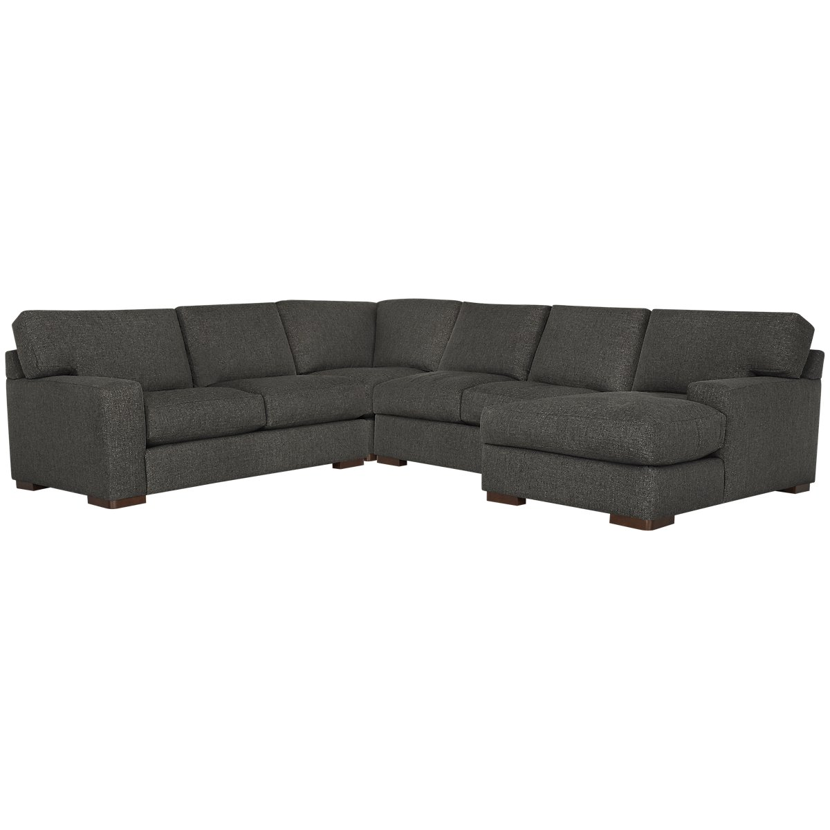 Veronica Dark Brown Down Medium Right Chaise Sectional