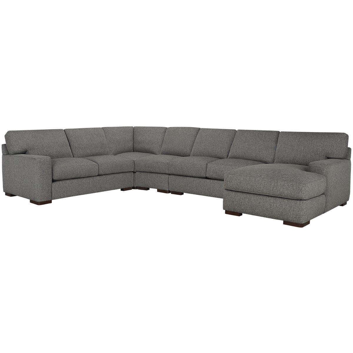 Veronica Gray Fabric Large Right Chaise Sectional