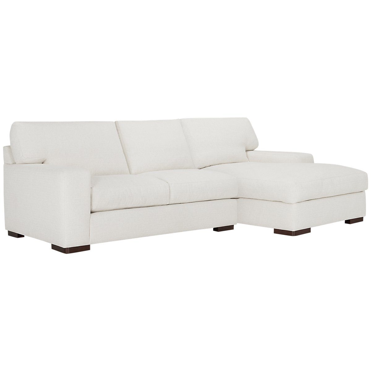 Veronica White Fabric Right Chaise Sectional