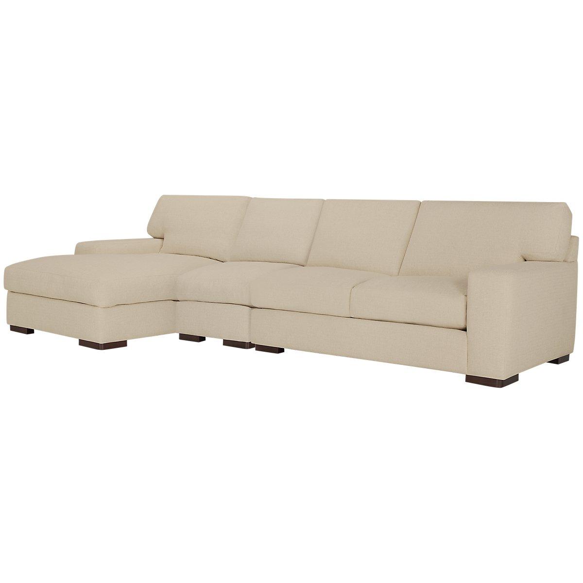 City furniture veronica khaki down small left chaise for Chaise kaki
