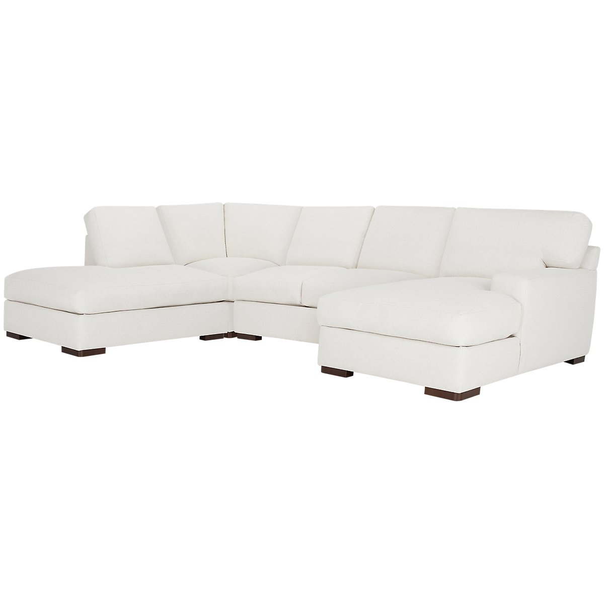 Veronica White Fabric Small Left Bumper Sectional
