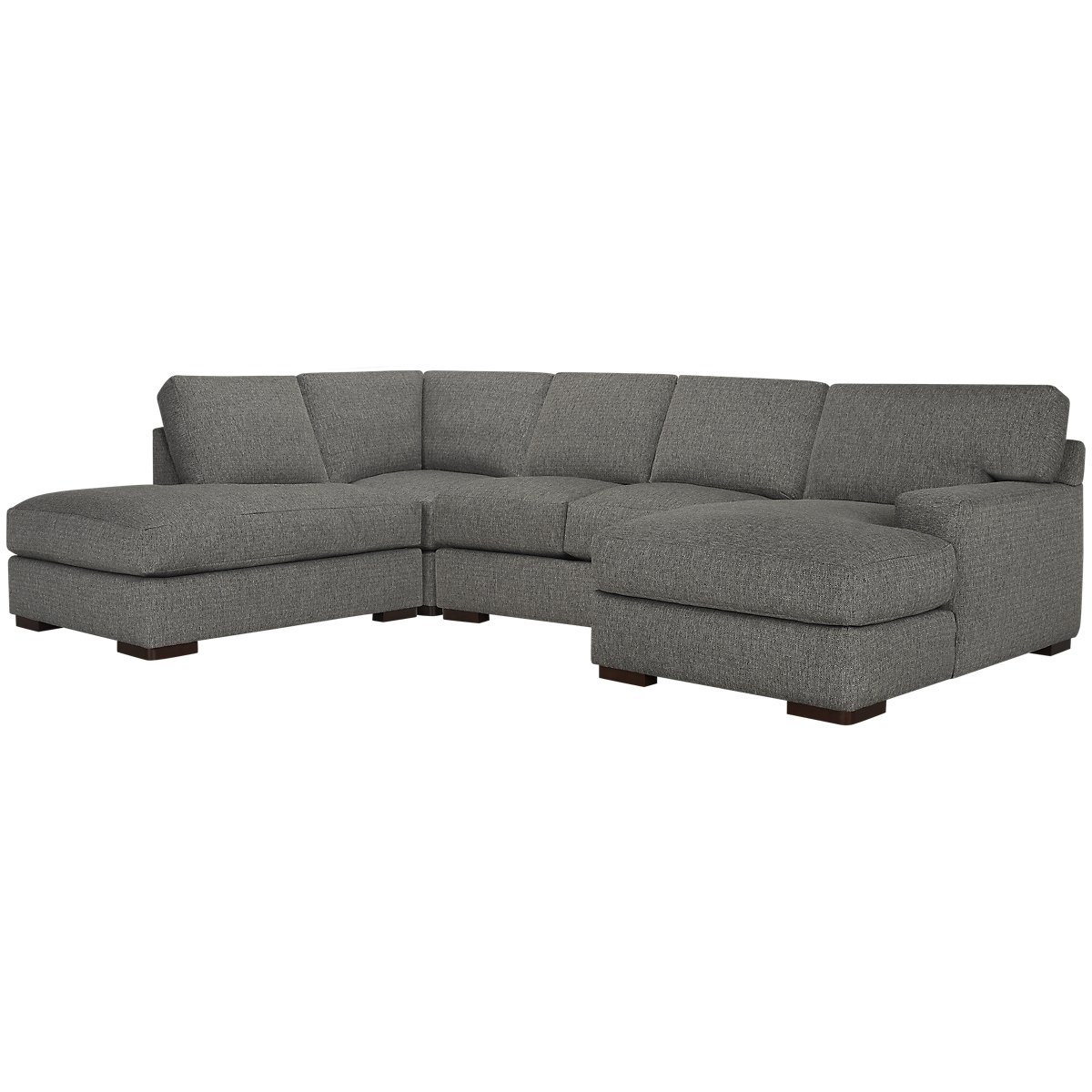 Veronica Gray Fabric Small Left Bumper Sectional