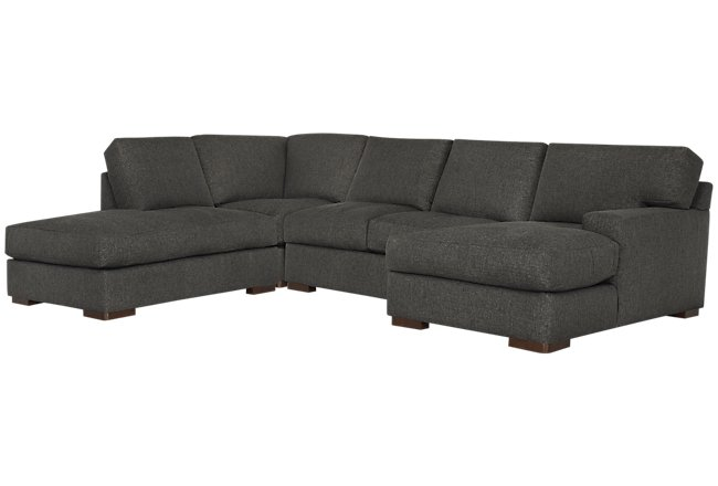 Veronica Dark Brown Down Small Left Bumper Sectional