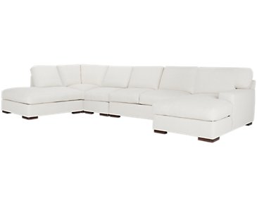 Veronica White Down Large Left Bumper Sectional