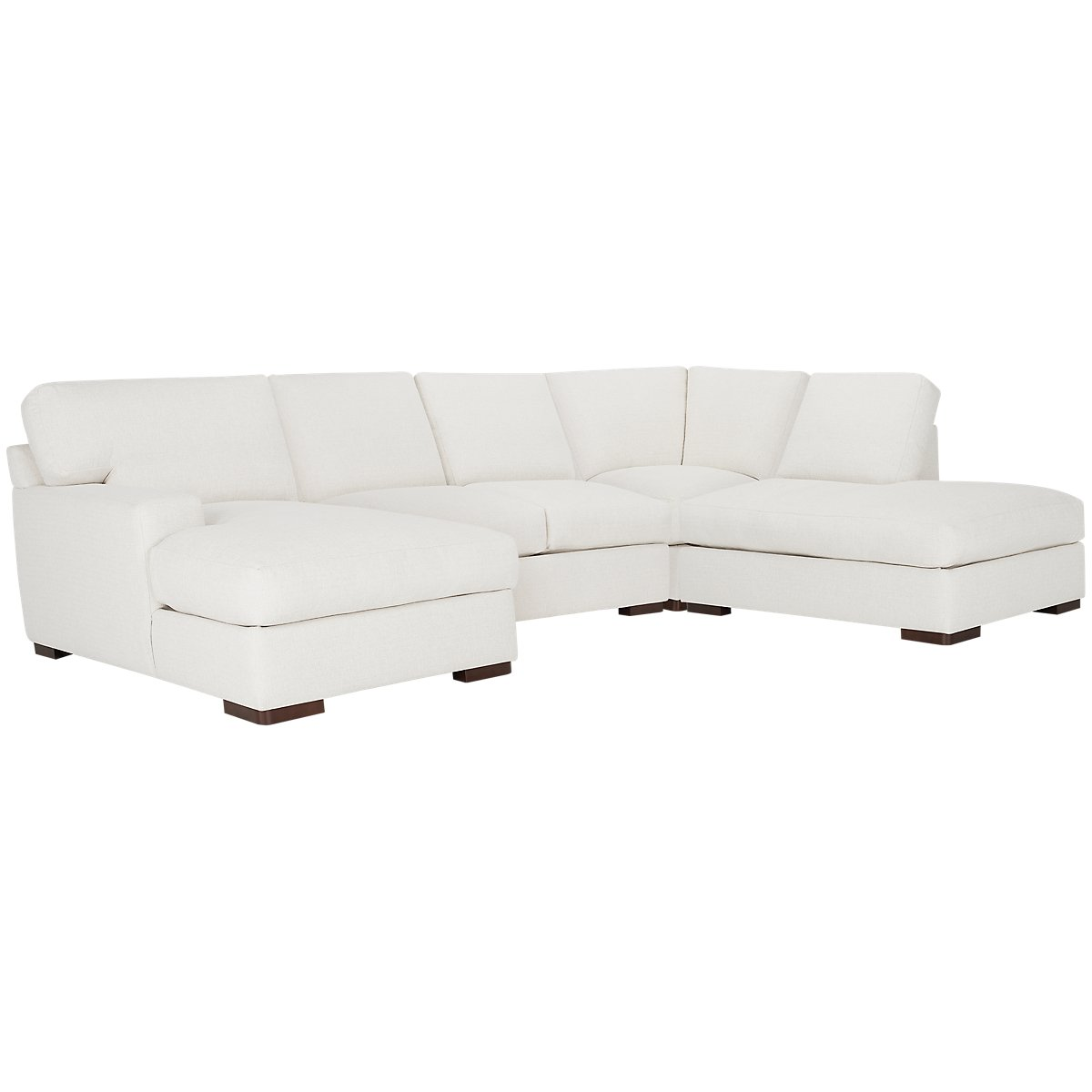 Veronica White Fabric Small Right Bumper Sectional