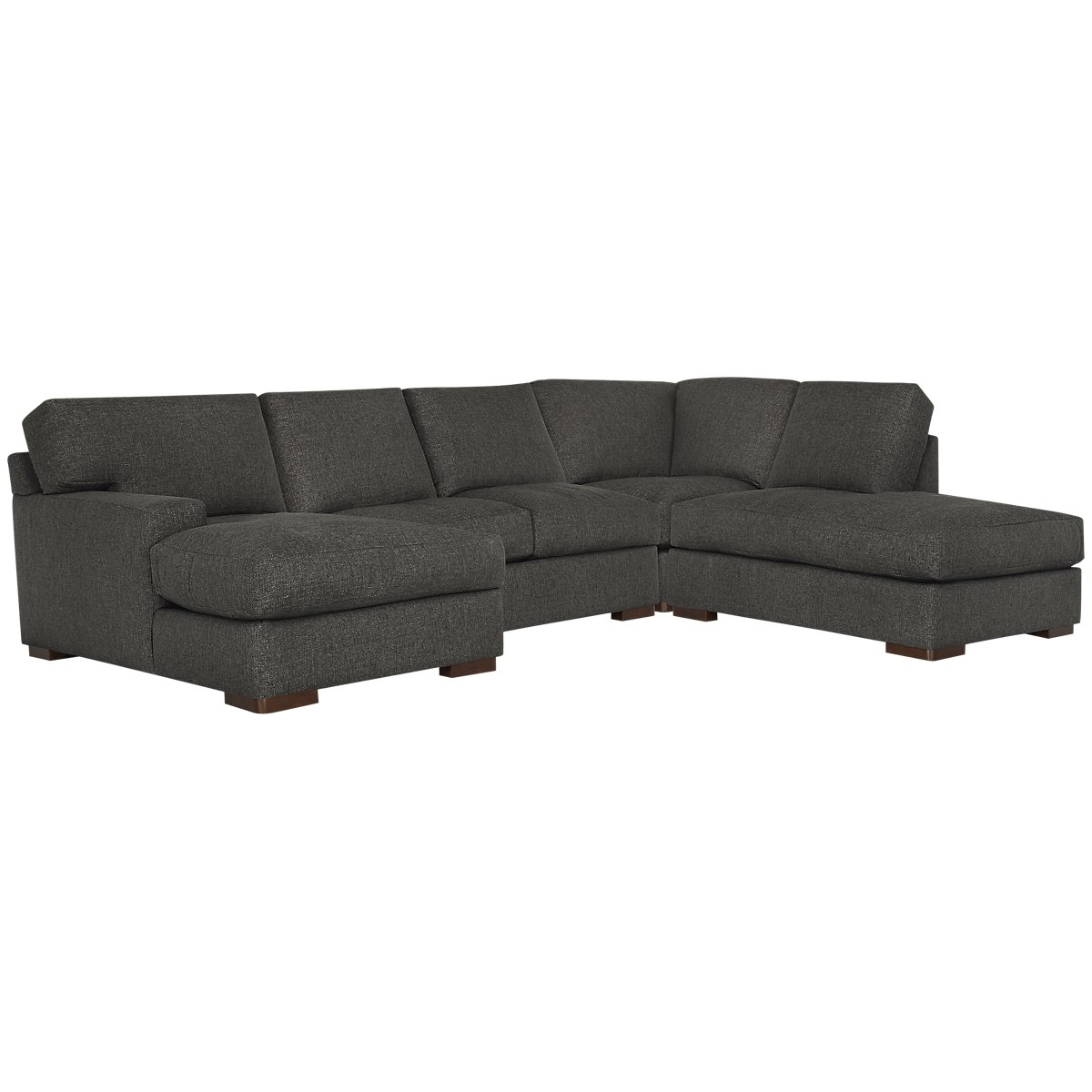 Veronica Dark Brown Fabric Small Right Bumper Sectional