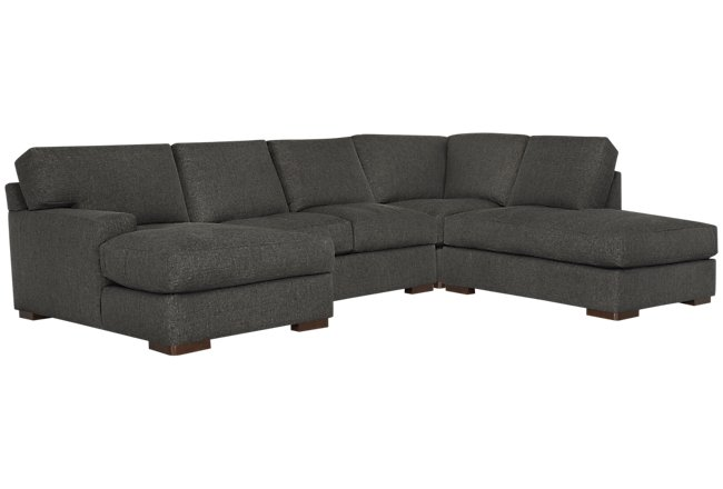 Veronica Dark Brown Down Small Right Bumper Sectional