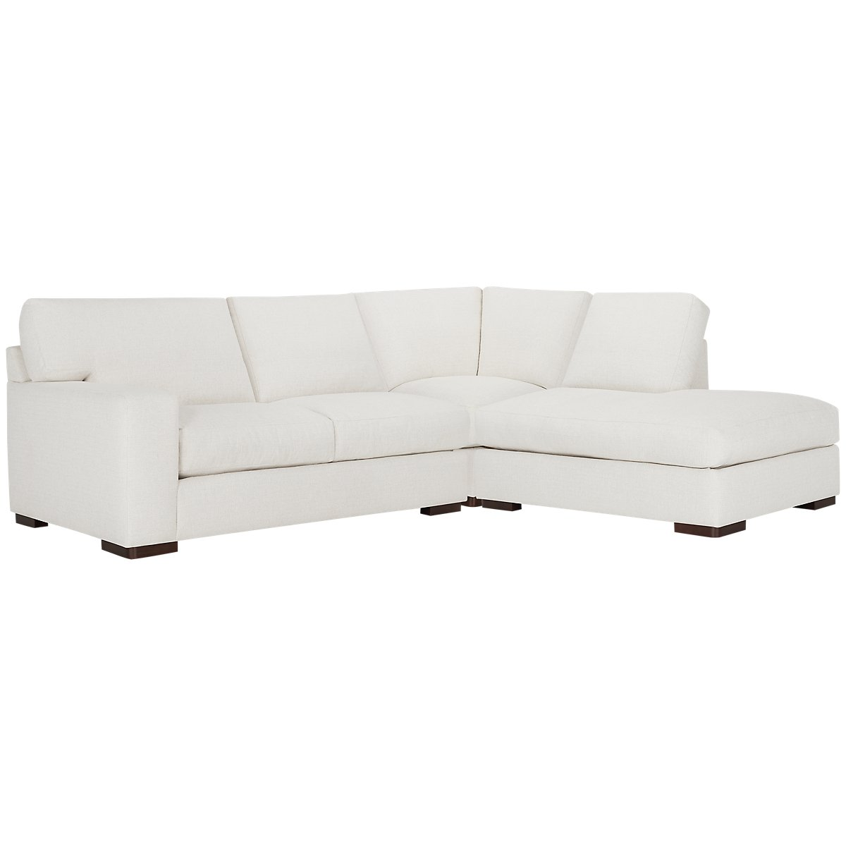 Veronica White Fabric Right Bumper Sectional