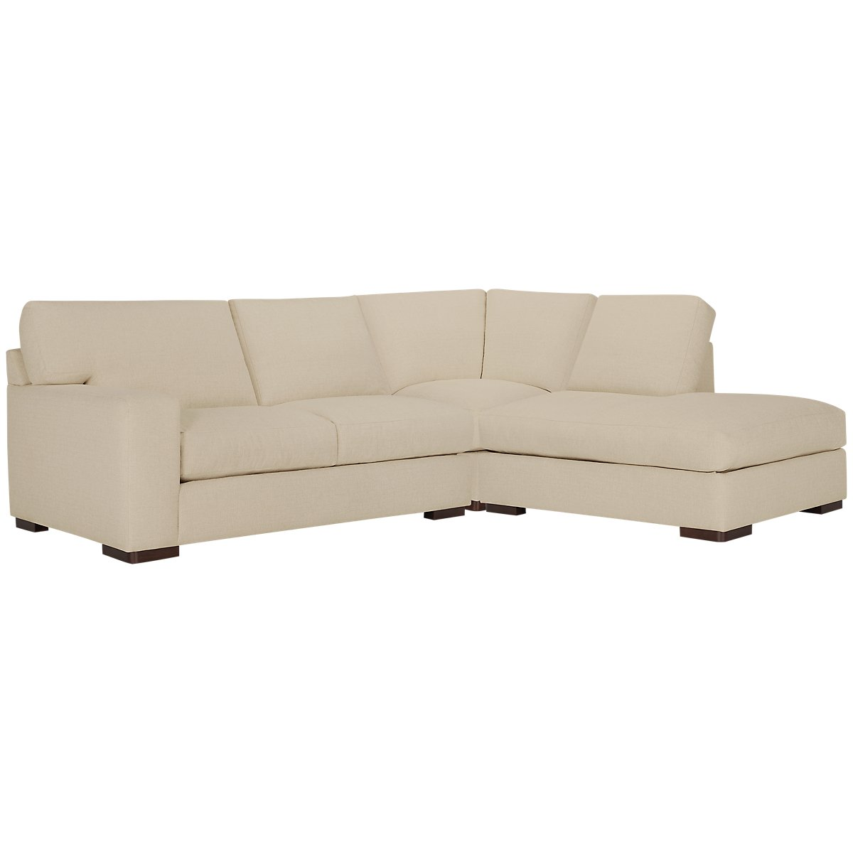 Veronica Khaki Fabric Right Bumper Sectional