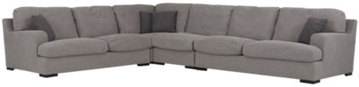 Samson Light Gray Fabric Large Two-Arm Sectional