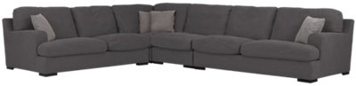 Samson Dark Gray Fabric Large Two-Arm Sectional