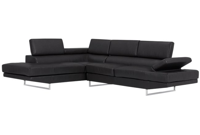 Tatiana Black Micro Left Chaise Sectional