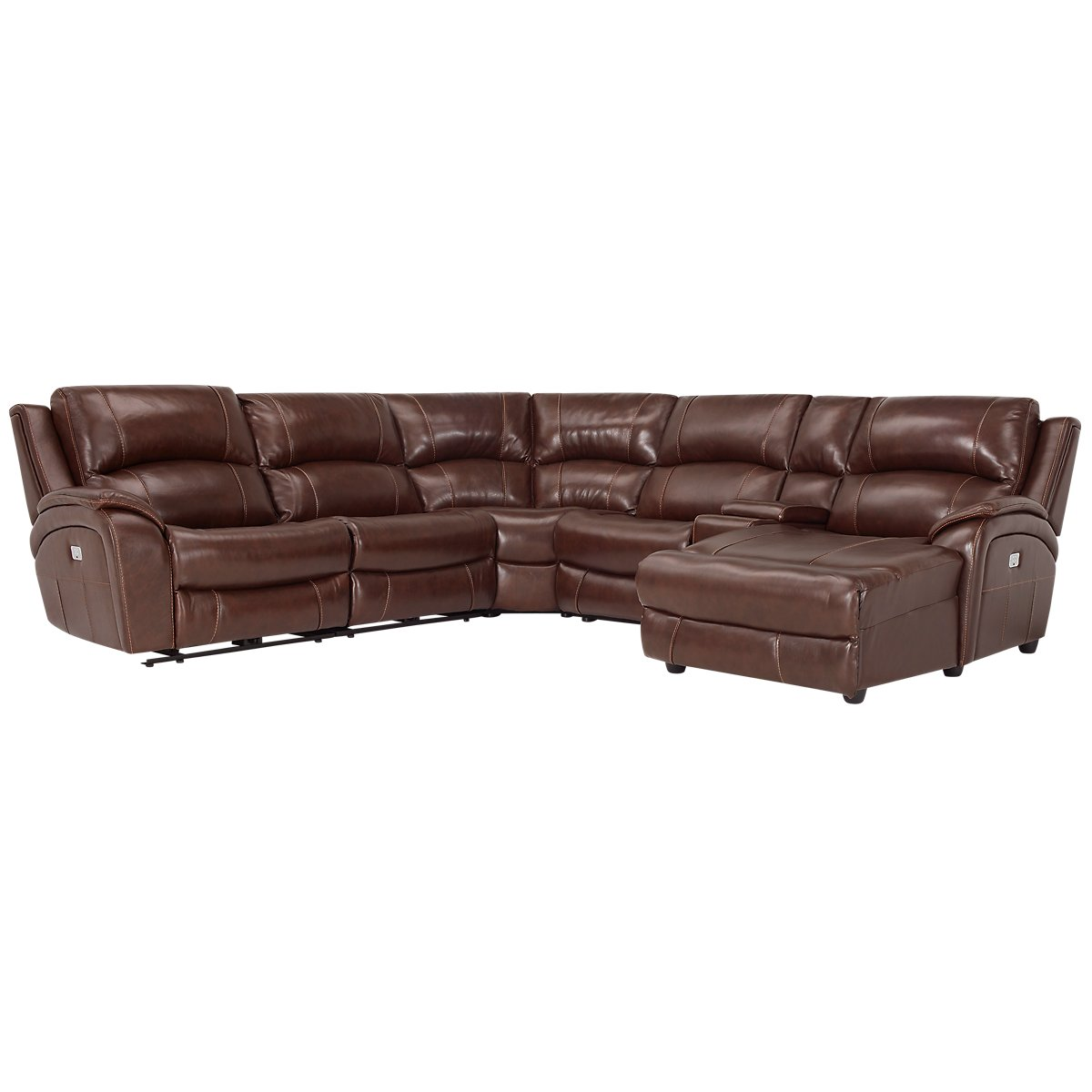 City furniture memphis medium brown leather right chaise for Brown leather sectional with chaise