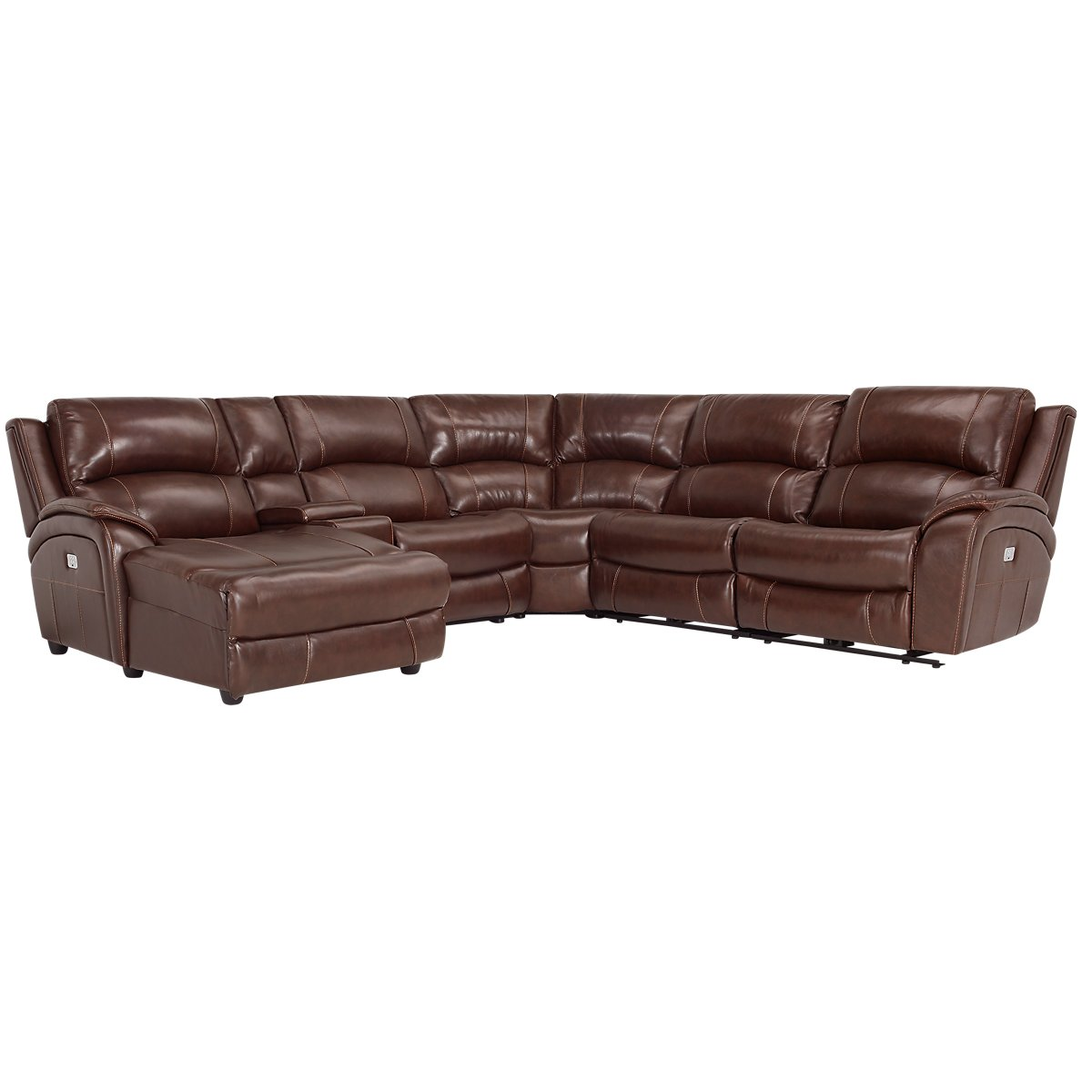 City furniture memphis medium brown leather left chaise for Brown leather sectional with chaise