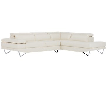 Liberty White Microfiber Right Chaise Sectional
