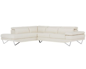 Liberty White Microfiber Left Chaise Sectional