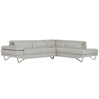 Liberty Light Gray Microfiber Right Chaise Sectional